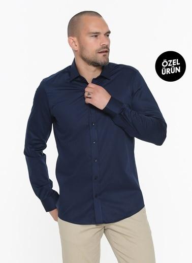 Beymen Business Slim Fit Saten Gömlek 4B2000000011 Lacivert